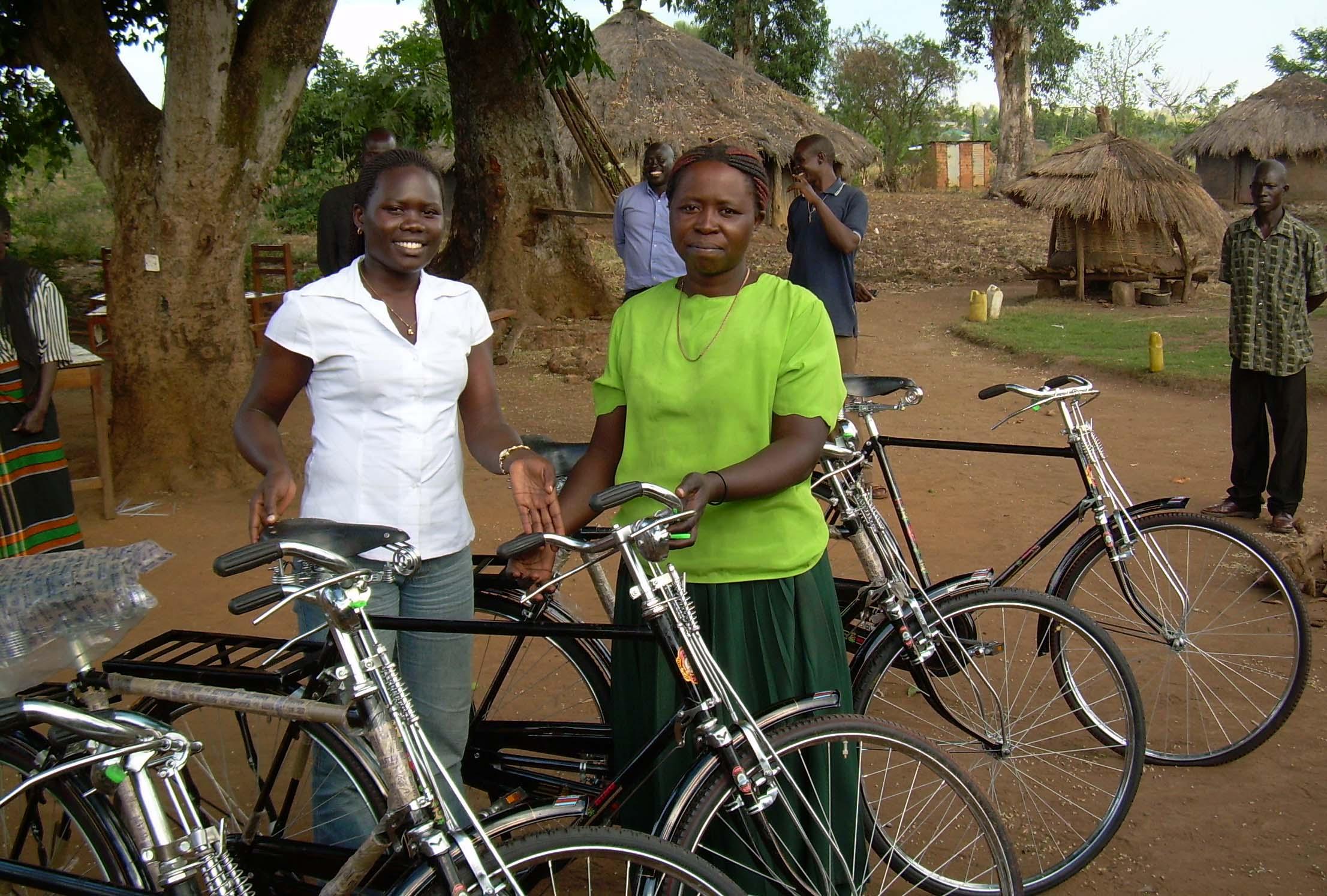 Giving bikes in Uganda